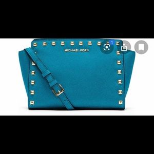 Michael Kors Blue Saffiano Leather Crossbody Purse